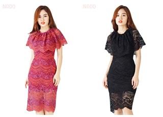 Đầm ren cổ bèo duyên dáng SID64759