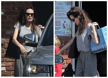 Angelina Jolie xuất hiện đầu bù tóc rối sau tin đồn tái hợp Brad Pitt