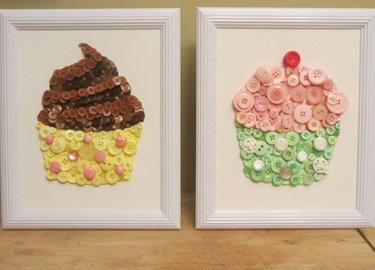 Cách làm tranh cupcake đẹp mắt bằng cúc áo