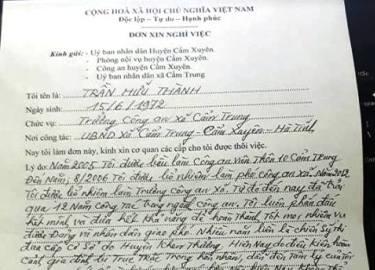 Vì sao một Trưởng Công an xã ở Hà Tĩnh viết đơn xin nghỉ việc?