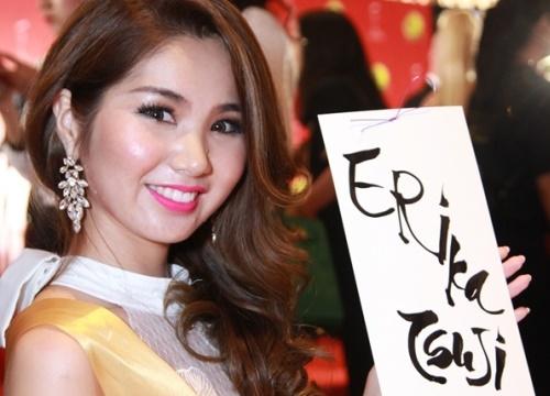 Người đẹp Hoa hậu Hòa bình Quốc tế chơi tò he, xin thư pháp