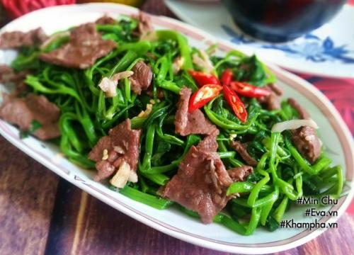 [Chế biến] - Thịt bò xào rau muống quen mà vẫn ngon