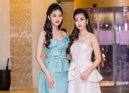 Hoa hậu Đỗ Mỹ Linh và Á hậu Thanh Tú khoe vẻ đẹp tươi như hoa