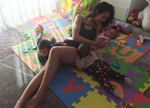 Bạn gái C. Ronaldo 'một nách ba con'