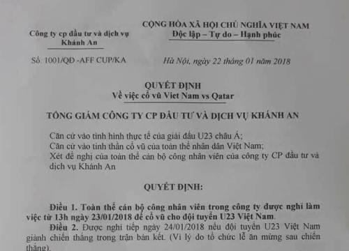 Tổng Giám đốc cho nhân viên nghỉ làm, cổ vũ U23 Việt Nam đá bán kết