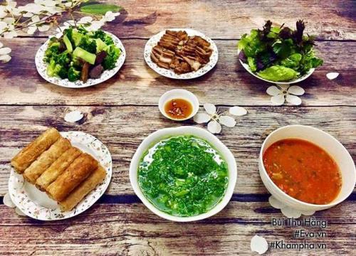 Nem rán giòn tan, canh cải nấu cá nóng hổi hấp dẫn cho bữa chiều