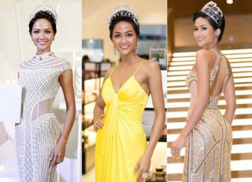 """Đầu năm, hãy cùng điểm lại những chiếc váy """"đốt mắt"""" người nhìn của tân Hoa hậu H'Hen Niê"""