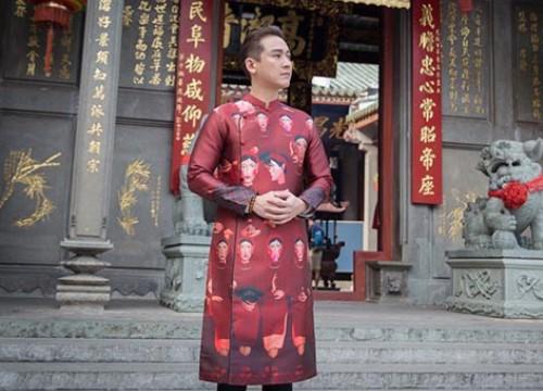 Hứa Vĩ Văn diện áo dài đi lễ chùa đầu năm