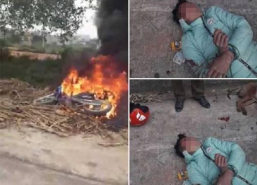 Đi trộm chó một mình, thanh niên bị dân đánh ngất xỉu, đốt xe