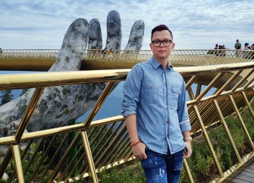Long Kan làm show thời trang ở cầu Vàng trên đỉnh Bà Nà