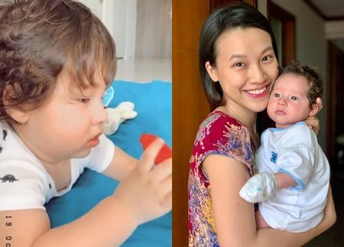 MC Hoàng Oanh khoe con trai lai Tây ngày càng đáng yêu, tóc xoăn tít